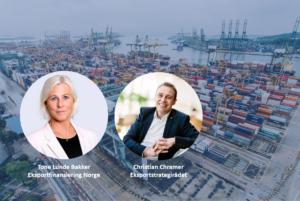Bilde av foredragsholdere på en bakgrunn fra en shippingyard